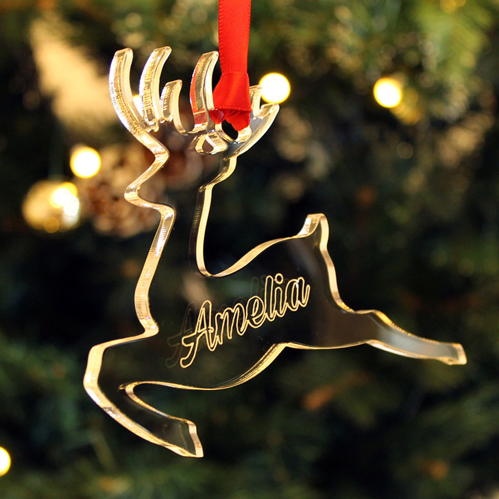 Personalised REINDEER Christmas Tree Decoration Bauble