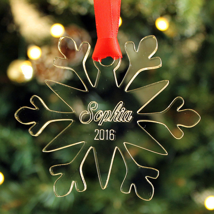 Personalised SNOWFLAKE Christmas Tree Decoration Bauble