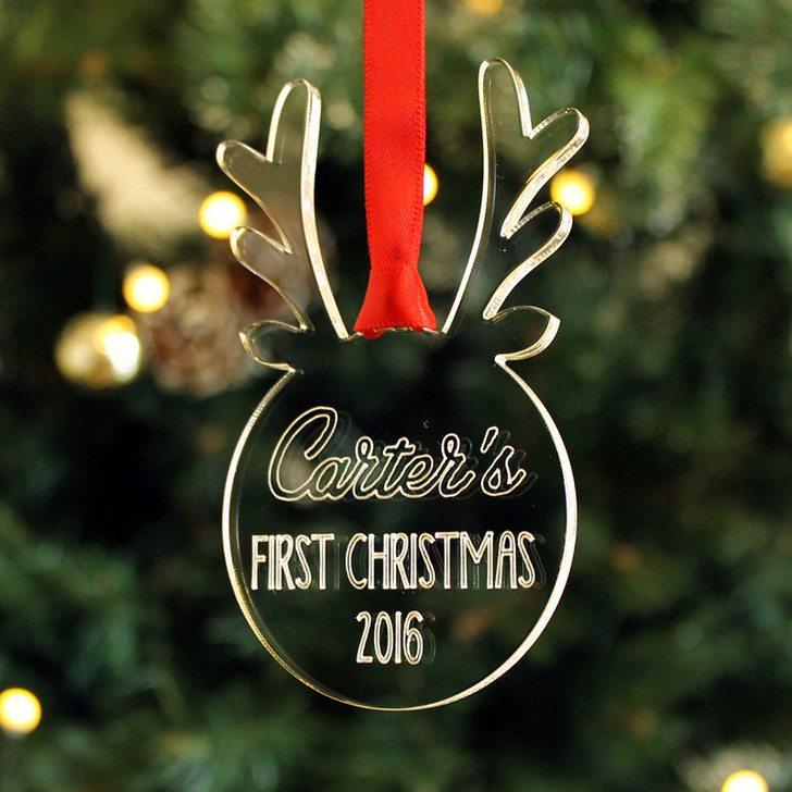 Personalised REINDEER ANTLER Bauble, Baby's 1st Christmas Tree Decoration
