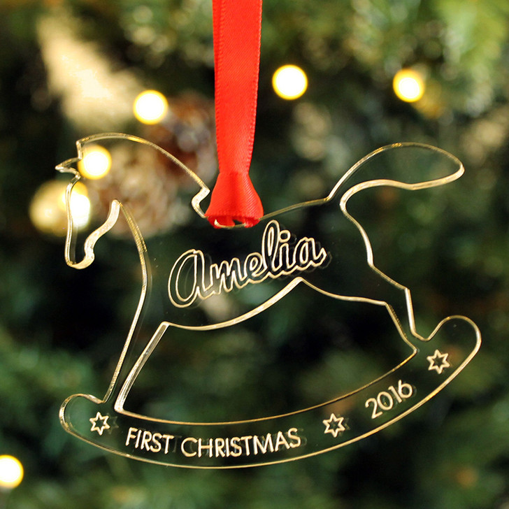 Personalised Baby's 1st Christmas ROCKING HORSE Xmas Tree Decoration Keepsake Gift