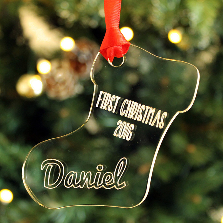 Personalised Baby's 1st Christmas STOCKING Xmas Tree Bauble Decoration