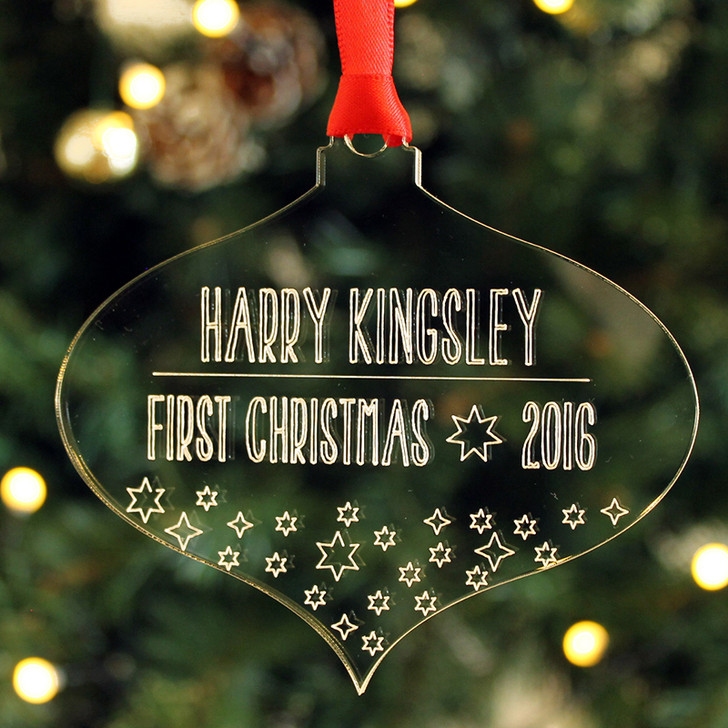 Personalised TEARDROP Style Baby's 1st Xmas First Christmas Tree Bauble