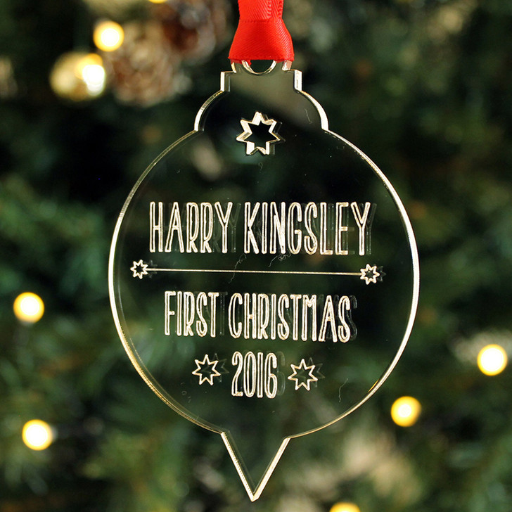 Personalised VINTAGE STYLE Baby's First Christmas Xmas Tree Bauble Decoration