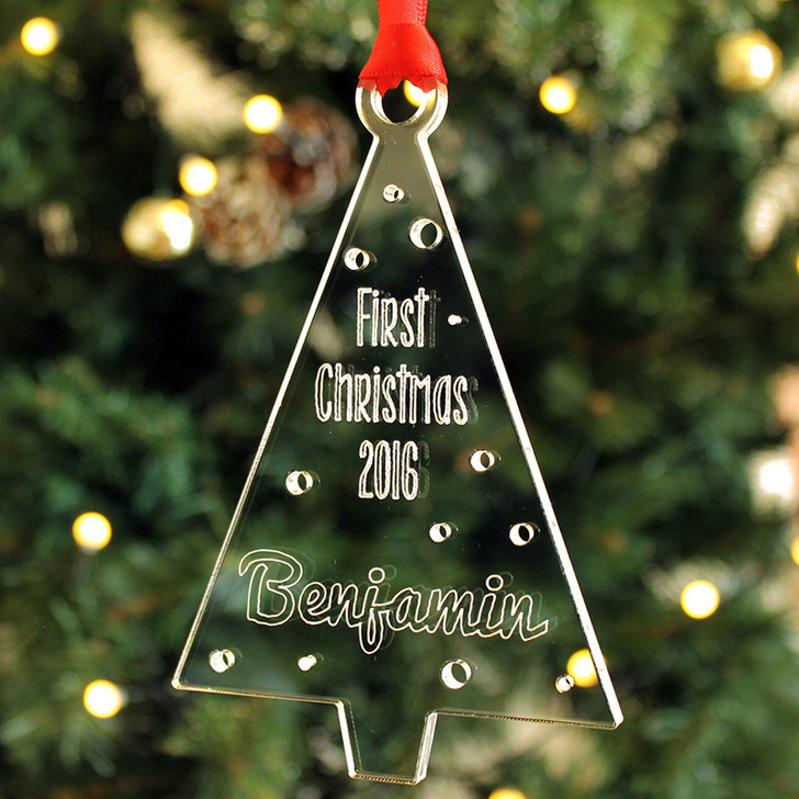 Personalised Baby's 1st Christmas Bauble Xmas Tree Decoration