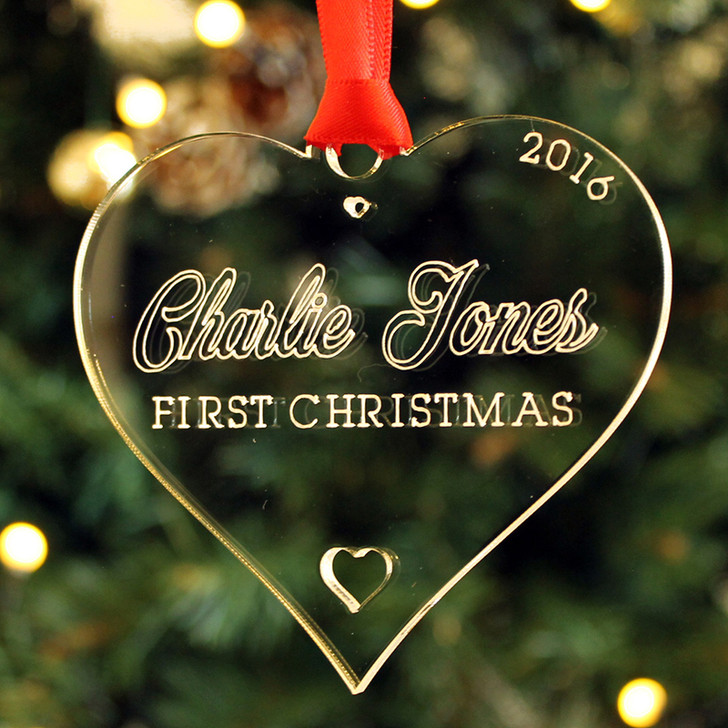 Personalised Baby's First Christmas HEART Xmas Tree Bauble Decoration