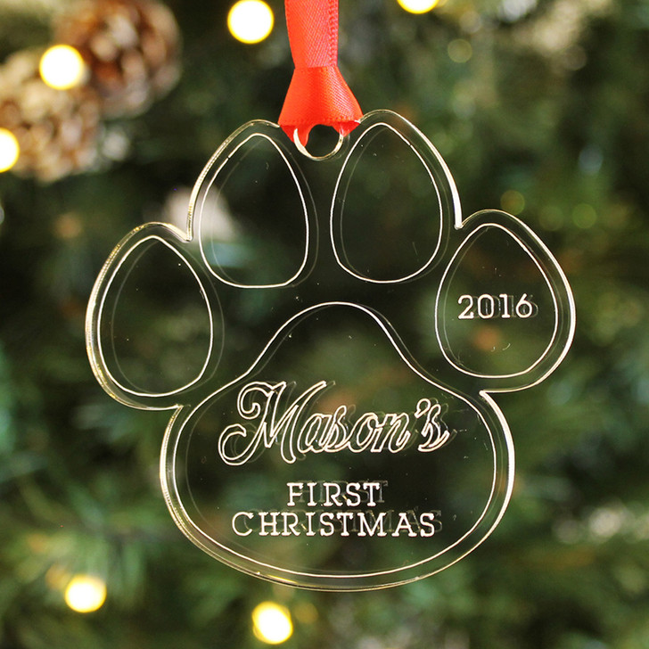 Personalised PUPPY PAW Christmas Bauble for Dogs 1st Christmas Decoration Keepsake Gift