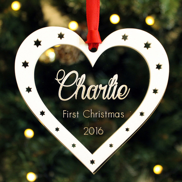 Personalised Baby's First Christmas HEART Bauble Xmas Decoration