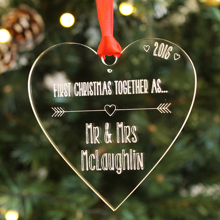 Personalised HEART 1st Christmas As Mr & Mrs, Clear Bauble Decoration