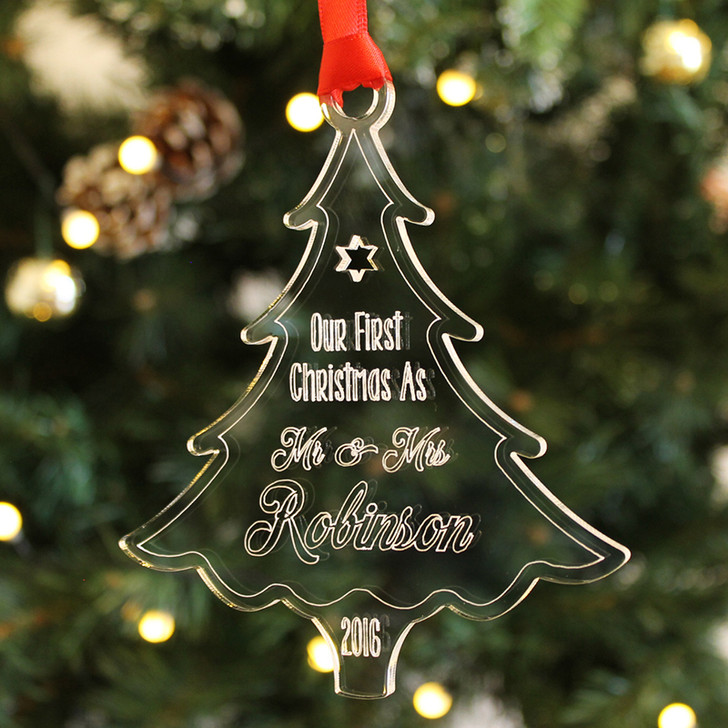 Personalised Our First Christmas As Mr & Mrs, XMAS TREE Bauble Decoration