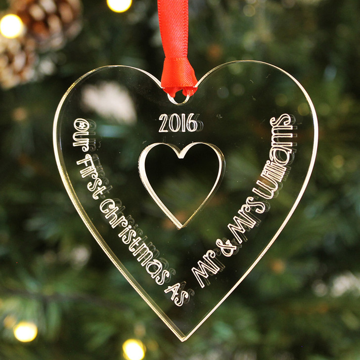 First Christmas As MR & MRS Personalised Engraved 1st Xmas Heart Bauble Decoration Keepsake Gift