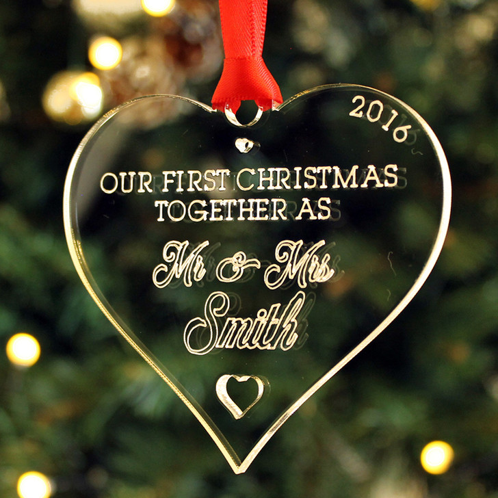 Personalised Mr & Mrs First Christmas HEART Decoration Bauble, First Year Married