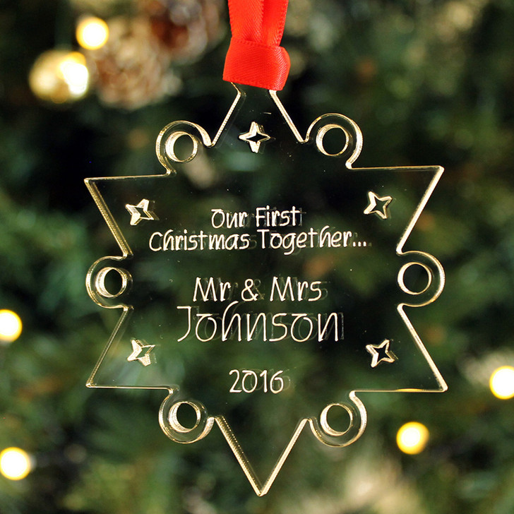 Personalised Christmas STAR Bauble 1st Year Together As Mr & Mrs Xmas Tree Decoration