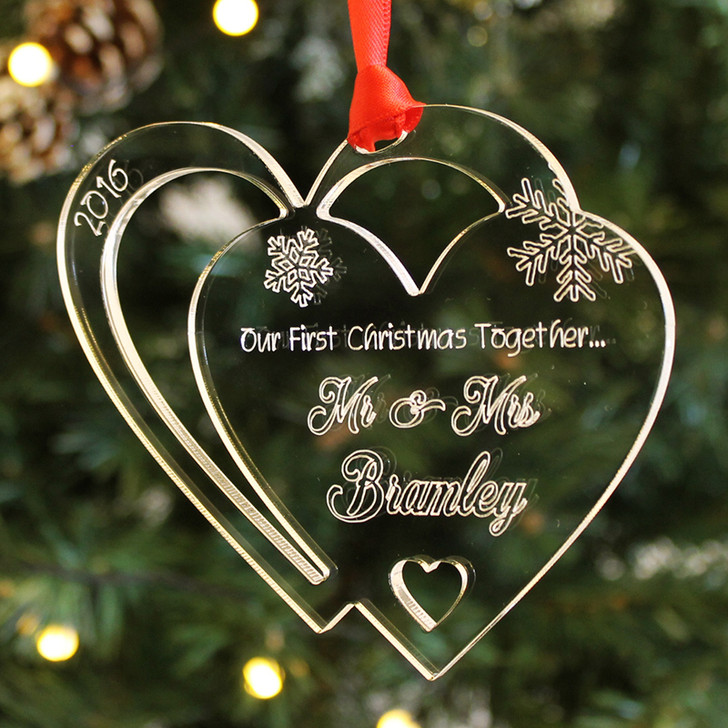 Personalised ENTWINED HEARTS Bauble 1st Christmas Together As Mr & Mrs Surname