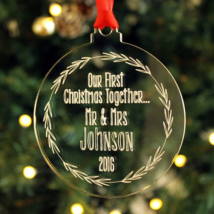 Personalised First Xmas As MR & MRS, Christmas Wreath Decoration Bauble