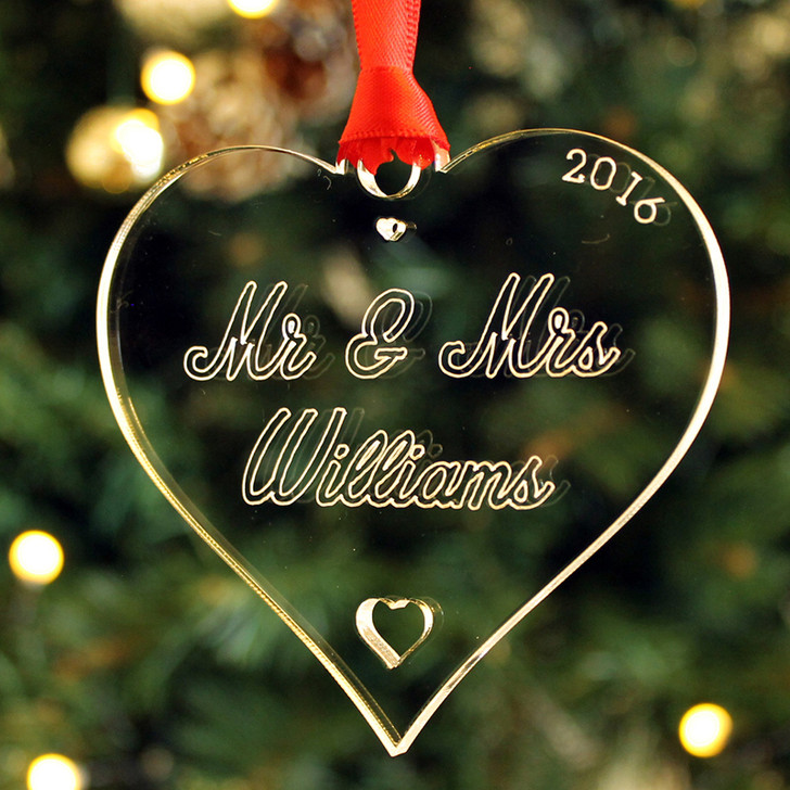 Personalised MR & MRS SURNAME Couples Heart Christmas Bauble