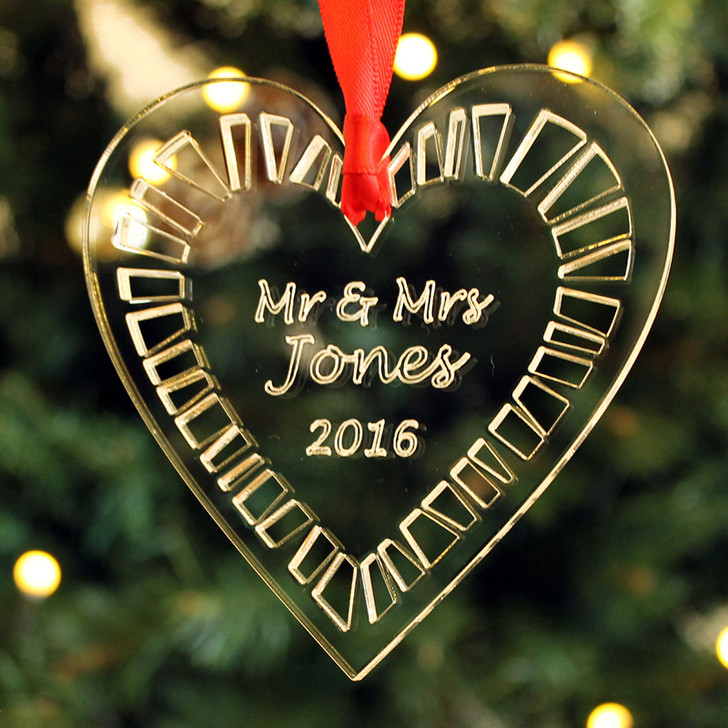Personalised MR & MRS Christmas HEART Bauble, Clear Engraved Xmas Tree Decoration