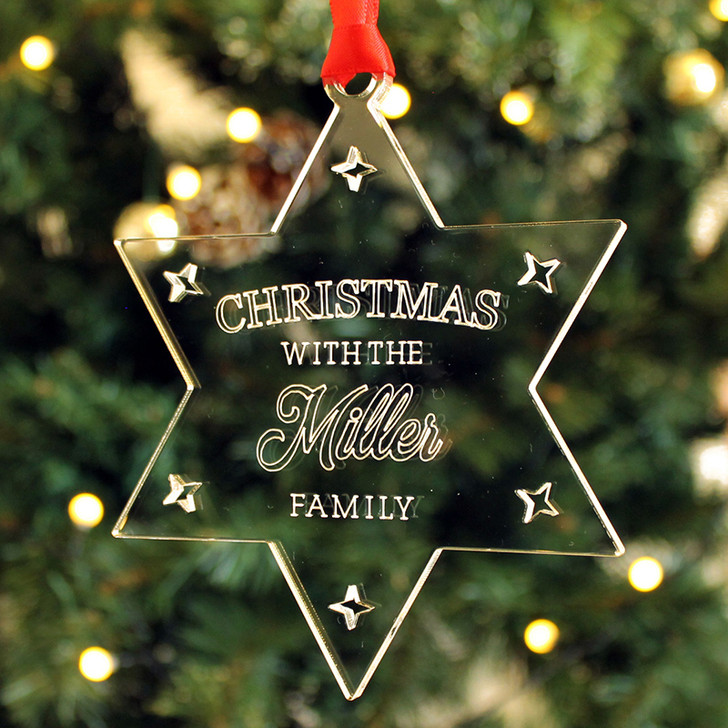Personalised Christmas STAR Family Name Xmas Tree Decoration