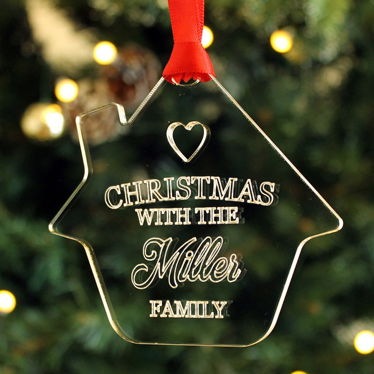 "Personalised Christmas With The ""Surname"" Family, Home Shaped Bauble"