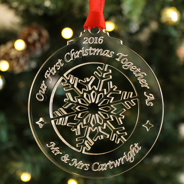 Personalised FIRST CHRISTMAS AS MR & MRS, Xmas Tree Bauble Decoration Keepsake Gift