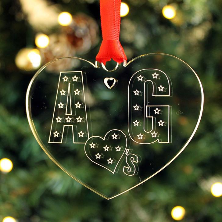 Personalised COUPLES INITIALS Christmas Tree Bauble Decoration Keepsake Gift