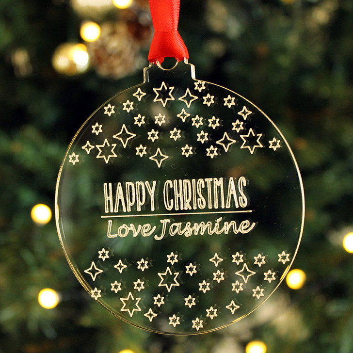 Personalised Starry Night Sky Christmas Tree Message Bauble