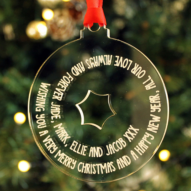 Personalised Christmas Tree Bauble Decoration With ANY MESSAGE, Keepsake Gift