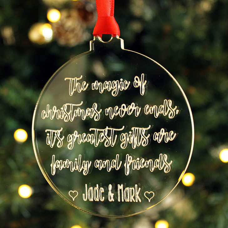 "Personalised Xmas Bauble ""The Magic Of Christmas Never Ends"" Family & Friends Tree Decoration Gift"