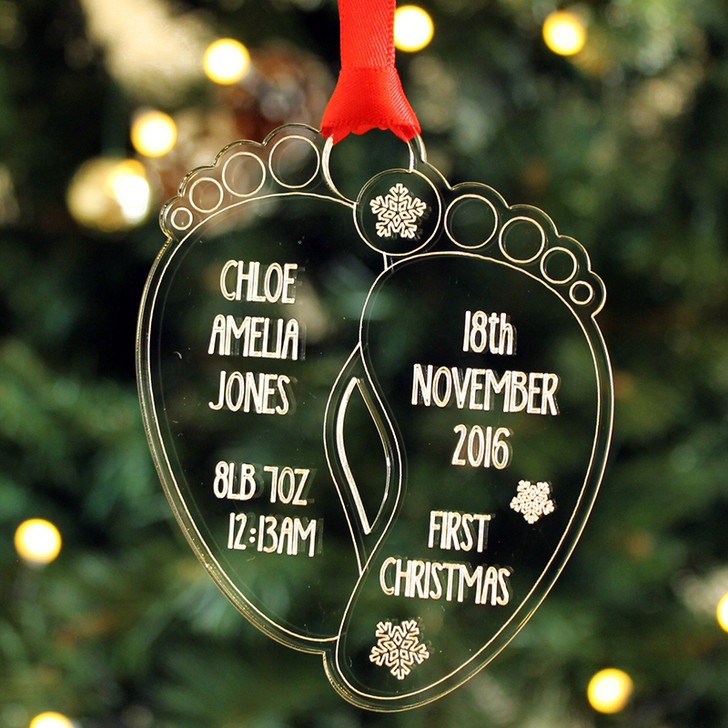 Baby's First Christmas Personalised Birth Details Footprint Bauble