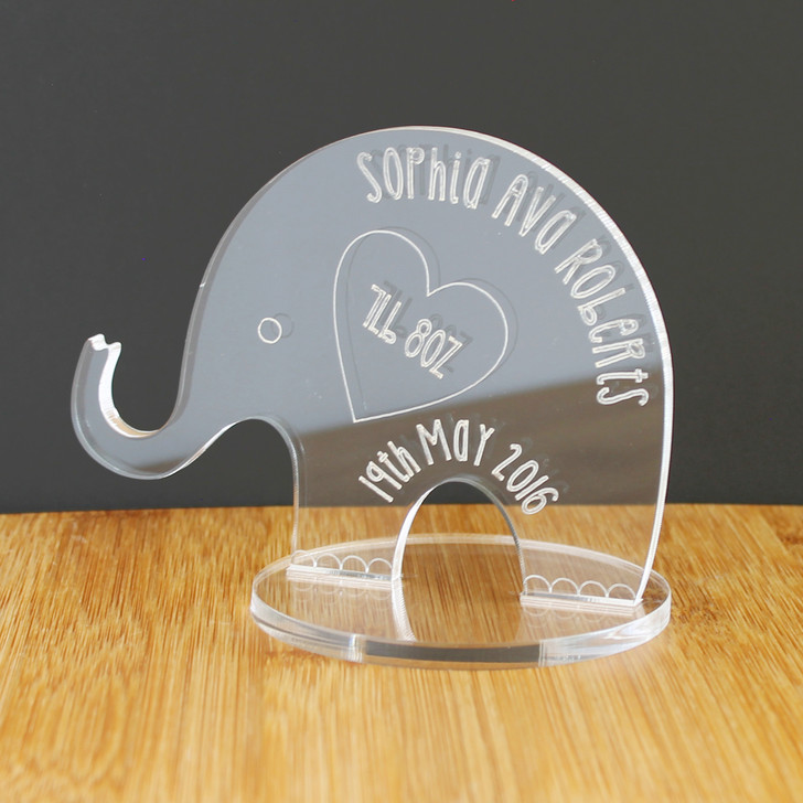 Baby's Personalised Birth Details Elephant | Keepsake Ornament