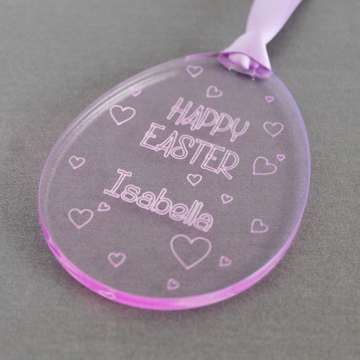 Personalised Easter Egg with Hearts | Hanging Keepsake