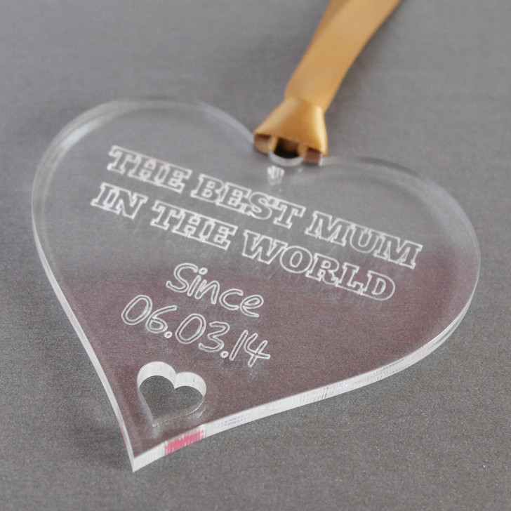 Best Mum In The World! Personalised Heart | Hanging Decoration