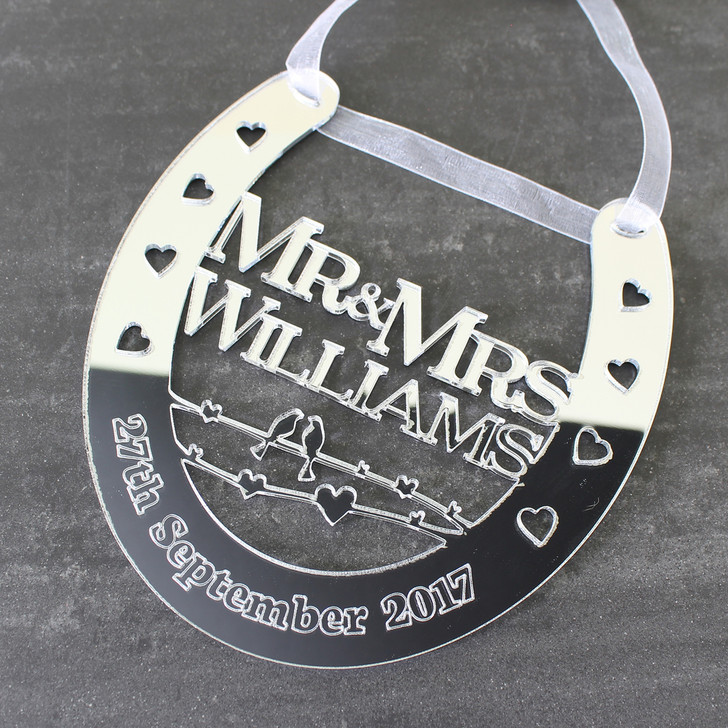 Personalised Silver Mirror Wedding Horseshoe Mr & Mrs Surname and Date - Wedding or Anniversary Gift
