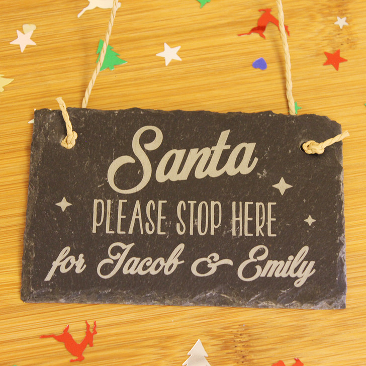 Personalised Santa Please Stop Here Slate Door Hanging Plaque, Door Sign For Kids