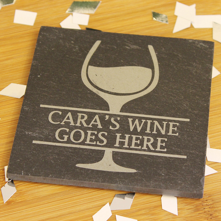 Wine Goes Here | Personalised Slate Coaster