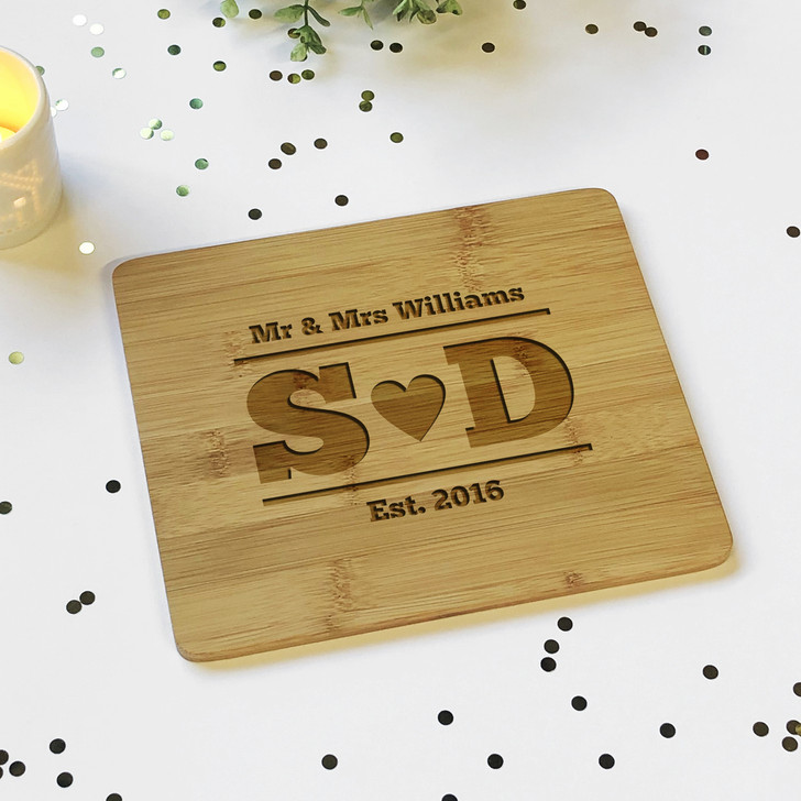 Mr & Mrs Surname with Initials Est. Wooden Plaque Board