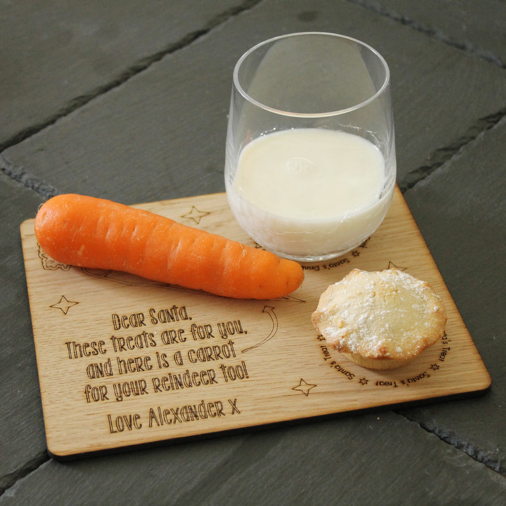 Personalised Santa & Rudolph Reindeer Christmas Eve Treat Board Plate, Night Before Christmas, Mince Pie, Carrot and Milk Board For Santa