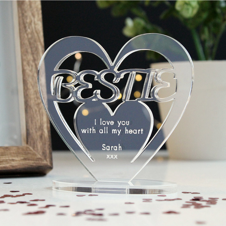 BESTIE Personalised Birthday HEART Plaque Gift For Her Keepsake Ornament Christmas Present