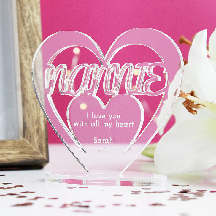 NANNIE Personalised Birthday HEART Plaque Gift For Her Keepsake Ornament Christmas Present