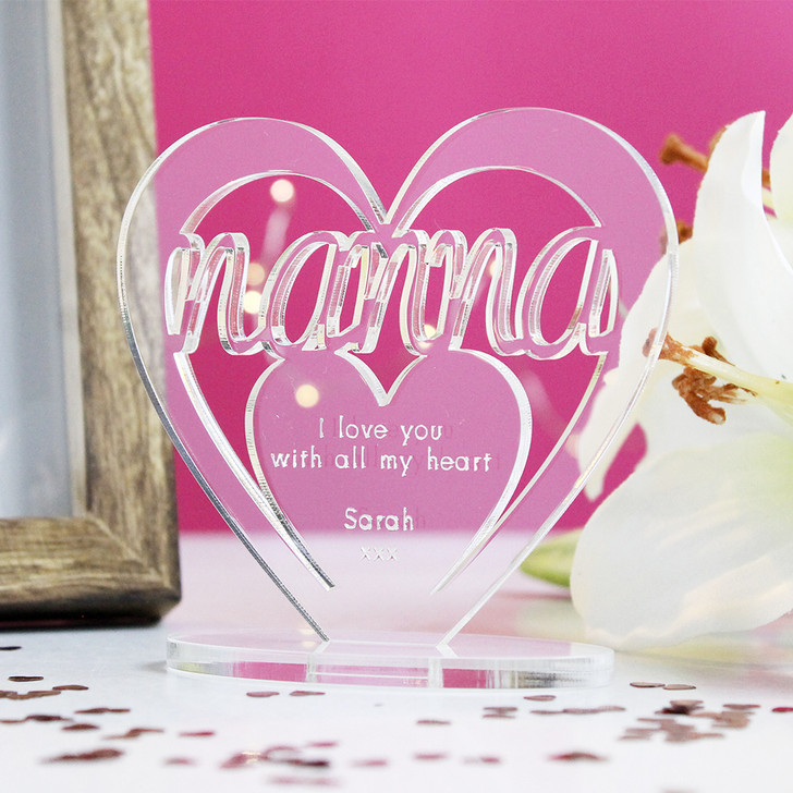 NANNA Personalised Birthday HEART Plaque Gift For Her Keepsake Ornament Christmas Present