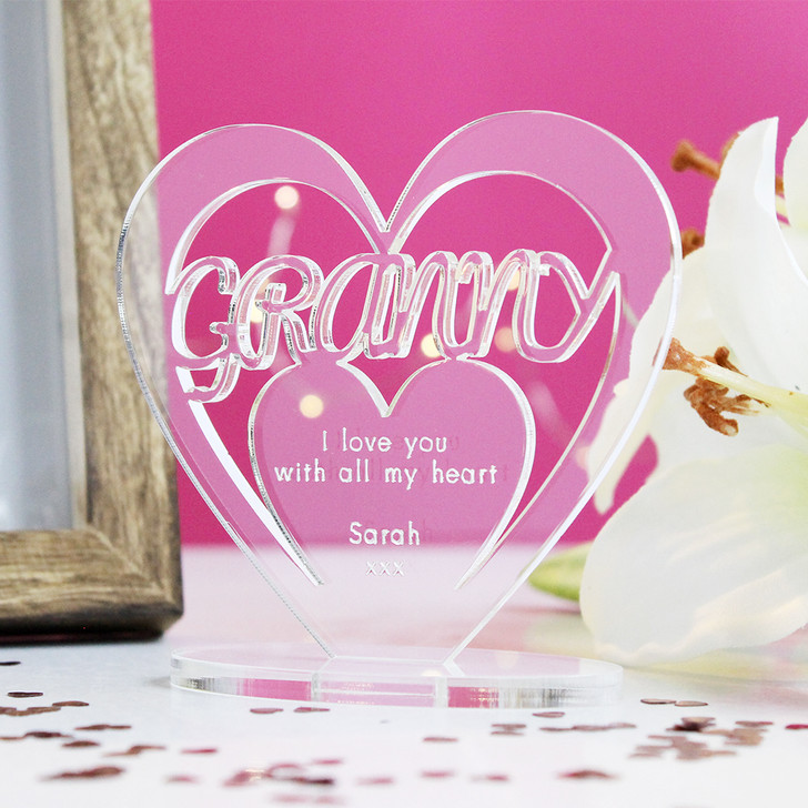 GRANNY Personalised Birthday HEART Plaque Gift For Her Keepsake Ornament Christmas Present