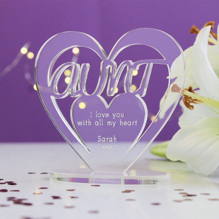 AUNT Personalised Birthday HEART Plaque Gift For Her Keepsake Ornament Christmas Present