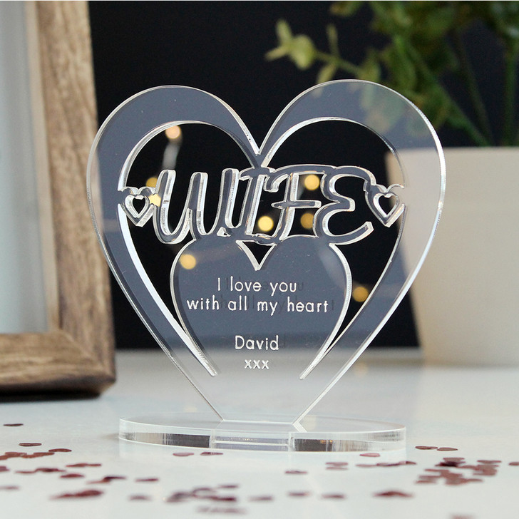 WIFE Personalised Birthday HEART Plaque Gift For Her Keepsake Ornament Christmas Present