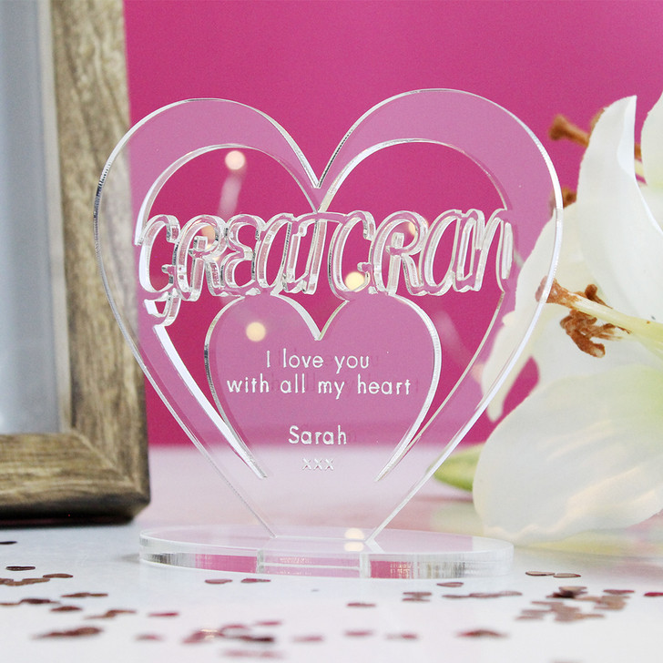 GREAT GRAN Personalised Birthday HEART Plaque Gift For Her Keepsake Ornament Christmas Present