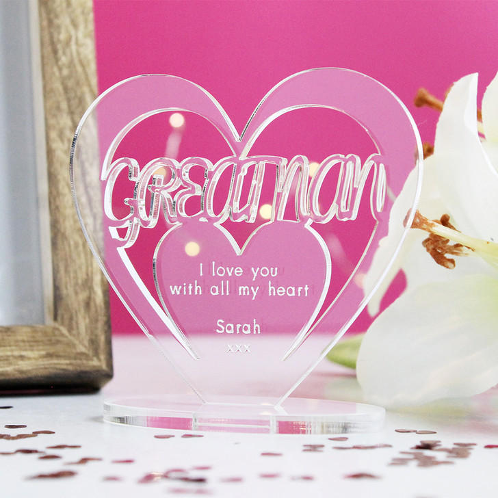GREAT NAN Personalised Birthday HEART Plaque Gift For Her Keepsake Ornament Christmas Present