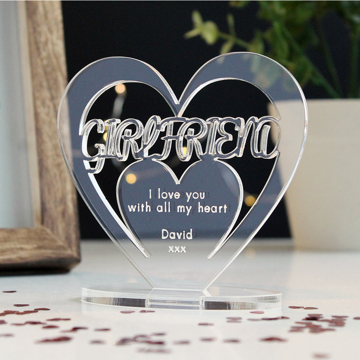 GIRLFRIEND Personalised Birthday HEART Plaque Gift For Her Keepsake Ornament Christmas Present