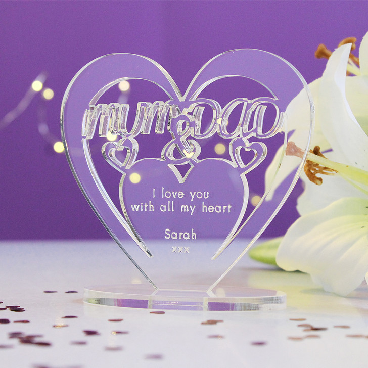 MUM & DAD Personalised Anniversary HEART Plaque Gift For Her Keepsake Ornament Christmas Present