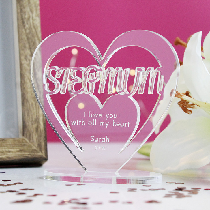 STEP MUM Personalised Birthday HEART Plaque Gift For Her Keepsake Ornament Christmas Present