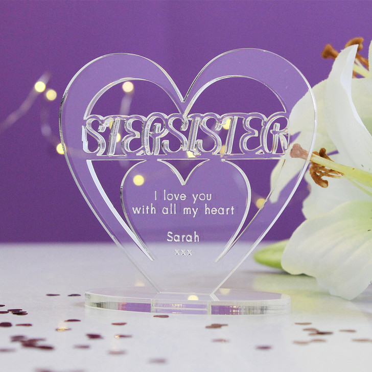 STEP SISTER Personalised Birthday HEART Plaque Gift For Her Keepsake Ornament Christmas Present