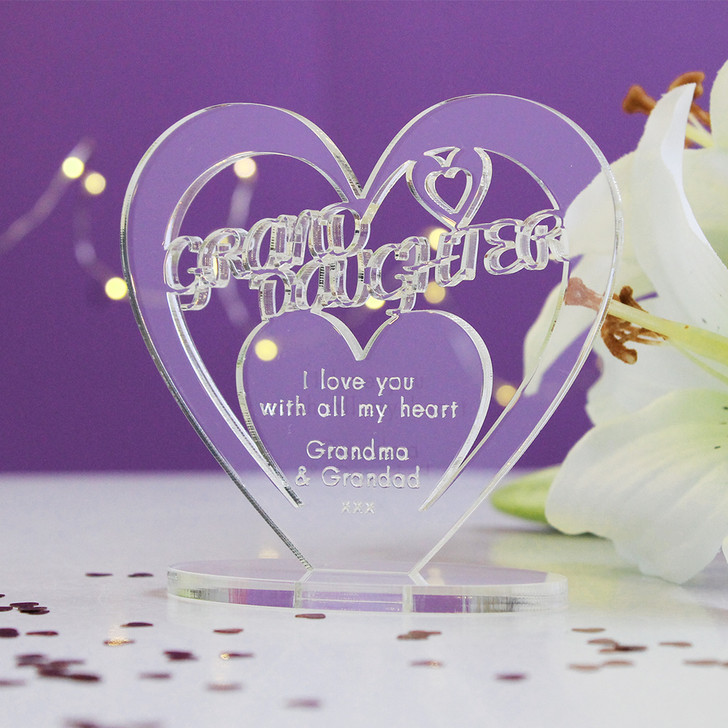 GRAND DAUGHTER Personalised Birthday HEART Plaque Gift For Her Keepsake Ornament Christmas Present