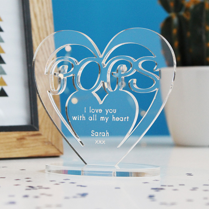 POPS Personalised Birthday HEART Plaque Gift For Him Keepsake Ornament Christmas Present